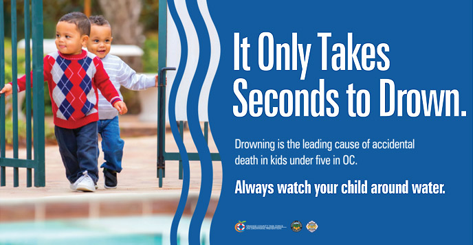 Poster image - It Only Takes Seconds to Drown.